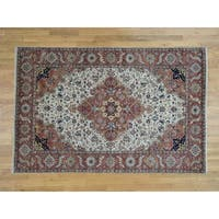 Hand Knotted Red Heriz with Wool Oriental Rug - 6' x 9'1