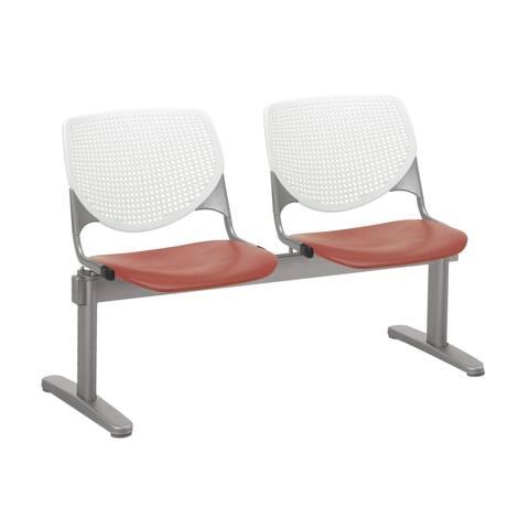 KFI KOOL 2 Seat Beam Bench, White Back, Coral Seat