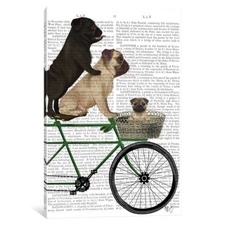"iCanvas ""Pugs on Bicycle, Print BG"" by Fab Funky Canvas Print"
