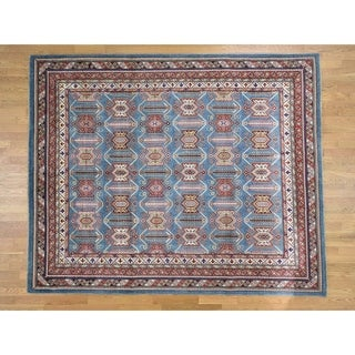 Hand Knotted Blue Kazak with Wool Oriental Rug - 8'1 x 9'9