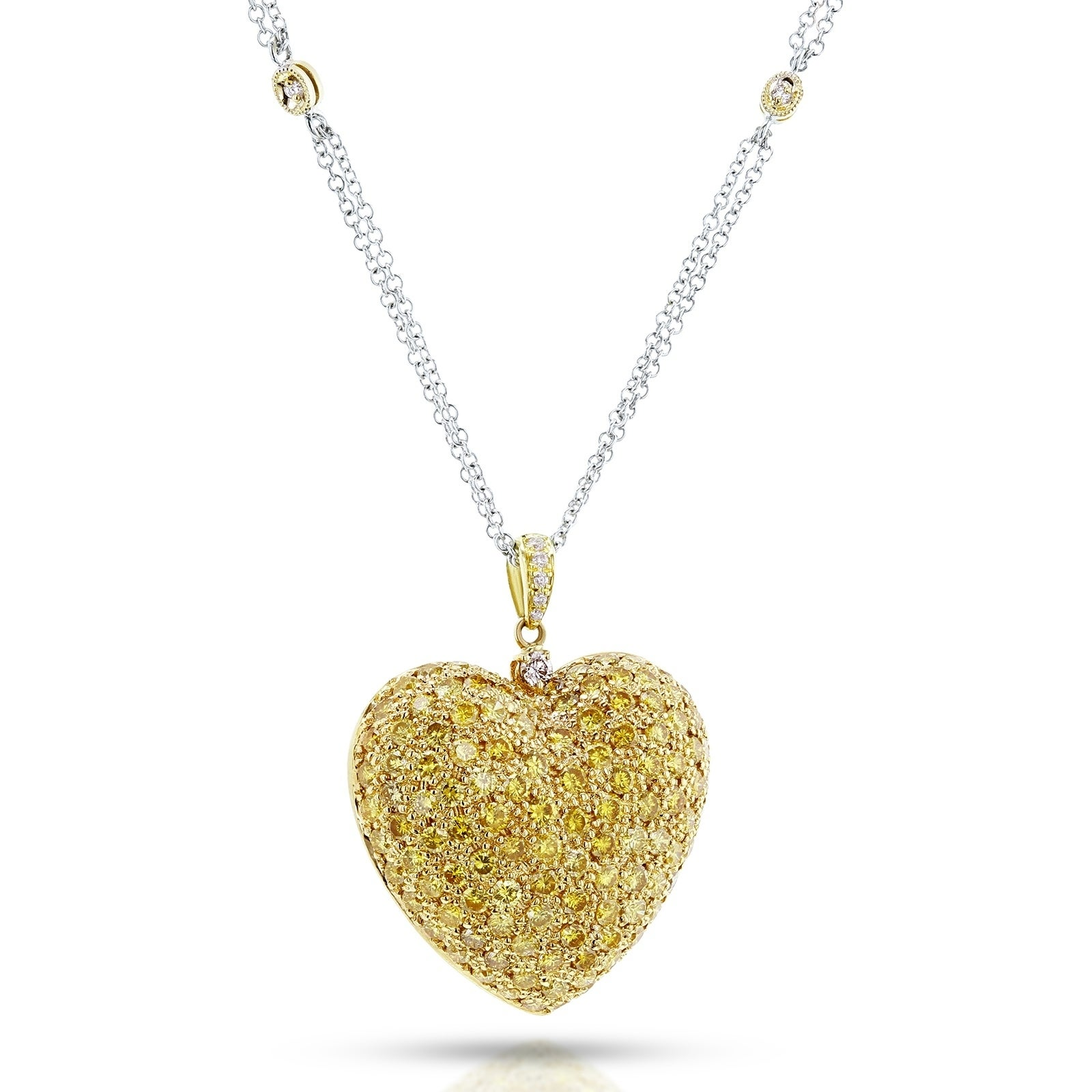 Shop Annello By Kobelli 18k Yellow Gold Necklace 3 4 5ct Tdw Fancy Yellow Diamond Pave Set Dome Heart Pendant 18in Chain Certified Overstock 21526814