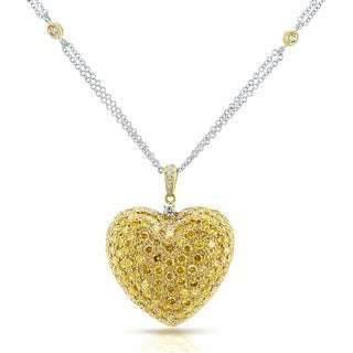 Annello by Kobelli 18k Yellow Gold Necklace 3 4/5ct TDW Fancy Yellow Diamond Pave-set Dome Heart Pendant, 18in Chain (Certified)