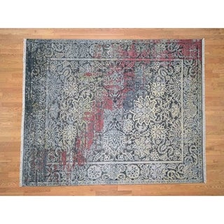 Hand Knotted Black Modern & Contemporary with Wool & Silk Oriental Rug - 8'1 x 10'