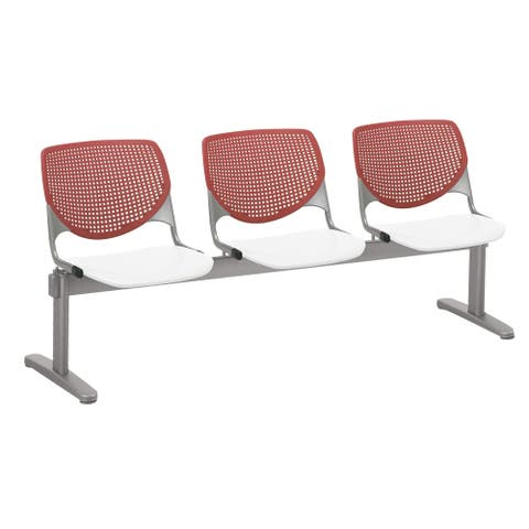 KFI KOOL 3 Seat Beam Bench, Coral Back, White Seat