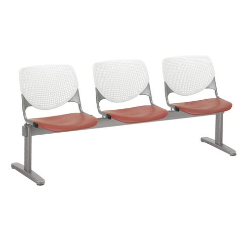 KFI KOOL 3 Seat Beam Bench, White Back, Coral Seat