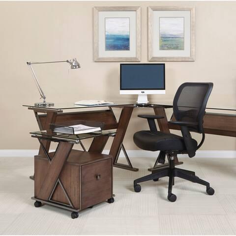OSP Home Furnishings Eureka File Cabinet with Caramel Wood and Black Nickel Metal