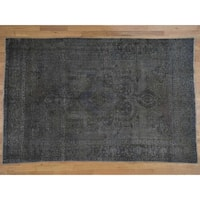 Hand Knotted Ivory Overdyed & Vintage with Wool Oriental Rug - 6'4 x 9'8