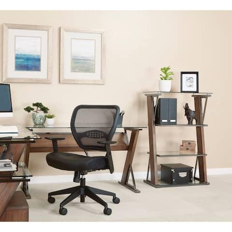 OSP Home Furnishings Eureka 4-Shelf Bookcase with Caramel Wood and Nickel Metal