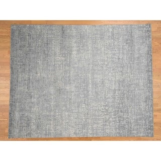 Hand Knotted Grey Modern & Contemporary with Wool & Silk Oriental Rug - 8' x 10'1