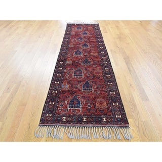 Hand Knotted Red Tribal & Geometric with Wool Oriental Rug - 2'9 x 9'5