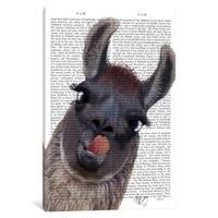 """iCanvas """"Silly Llama"""" by Fab Funky Canvas Print"""