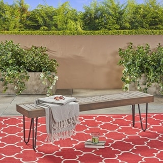 Link to Jane Outdoor Industrial Bench by Christopher Knight Home Similar Items in Patio Furniture