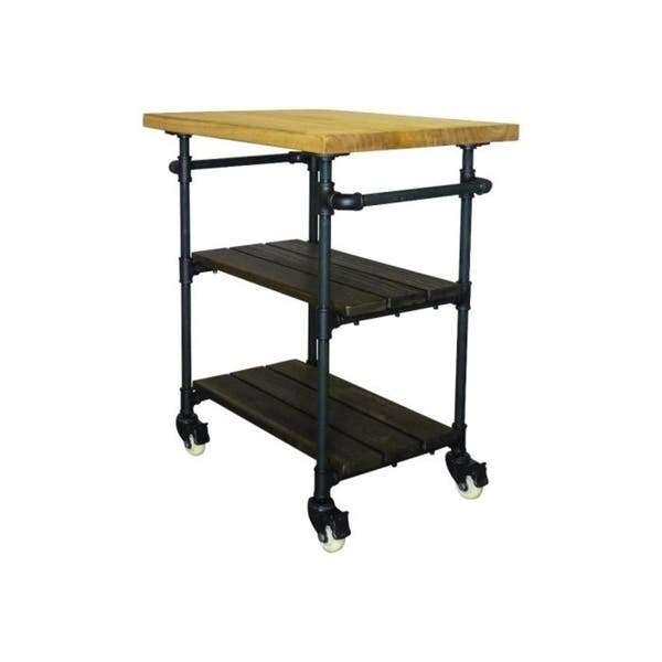 Shop Furniture Pipeline Hoboken Rustic 2-shelf Kitchen Cart ...