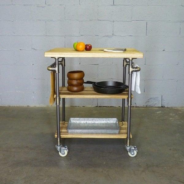 Hoboken Rustic 3 Tier Kitchen Storage Serving Bar Butcher Block Island Cart  Reclaimed Aged