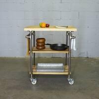 Furniture Pipeline Hoboken Rustic 2-shelf Kitchen Cart/Cutting Board