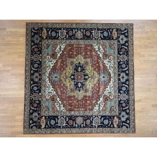 Hand Knotted Red Heriz with Wool Oriental Rug - 10' x 10'1