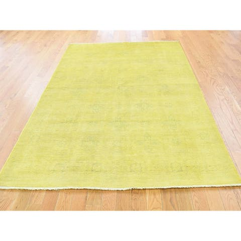 Hand Knotted Yellow Overdyed & Vintage with Wool Oriental Rug - 4'10 x 7'