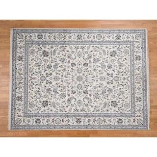 Hand Knotted Beige Fine Oriental with Wool & Silk Oriental Rug - 8'8 x 11'10