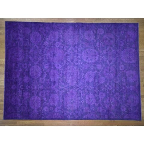 Hand Knotted Purple Heriz with Wool Oriental Rug - 10'2 x 14'
