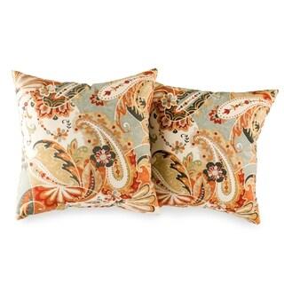 Picadilly Orange Paisley Square pillow set