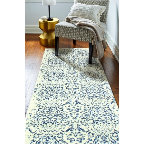 """Athena Ivory/Blue Transitional Area Rug - 2'6"""" x 8' Runner"""