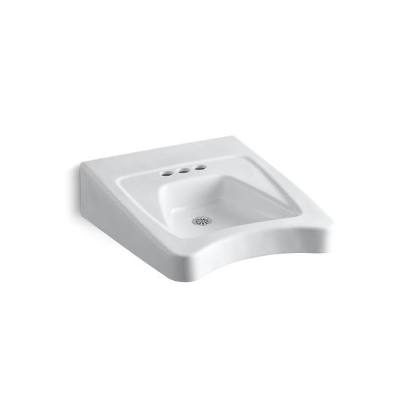 "Kohler Morningside? 20"" X 27"" Wheelchair Bathroom Sink with 4"" Centerset Faucet Holes White (K-12636-0) (White)"