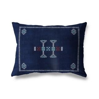 Morroccan Kilim Navy Lumbar Pillow By Becky Bailey