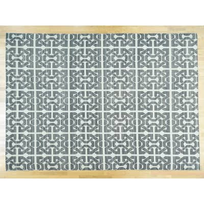Hand Knotted Ivory Flat Weave with Wool Oriental Rug - 10' x 13'10