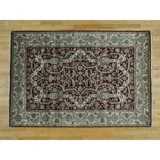 Hand Knotted Beige Fine Oriental with New Zealand Wool Oriental Rug - 6'2 x 9'
