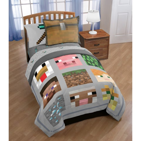Minecraft Reversible 3-piece Quilt Set