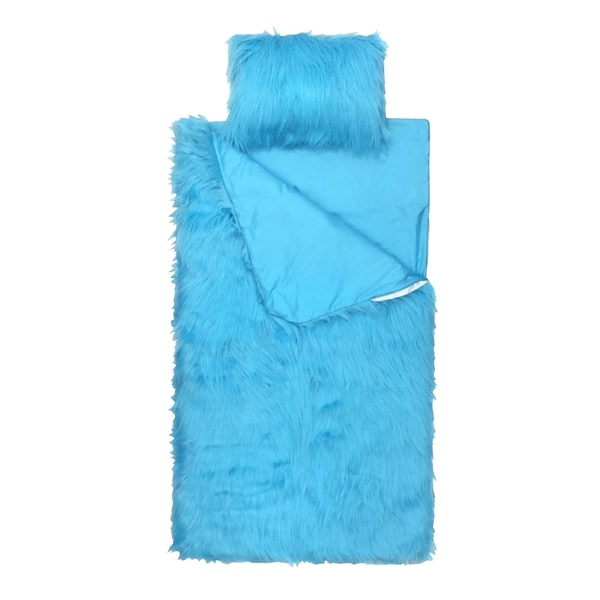 Limited Too Teal Fuzzy Slumber Bag and Mini Pillow Set