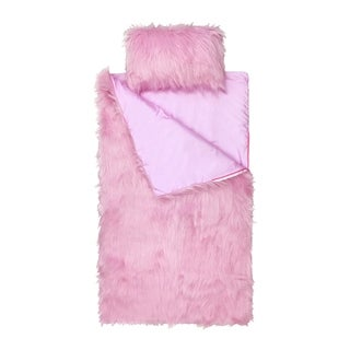 Limited Too Pink Fuzzy Slumber Bag and Mini Pillow Set