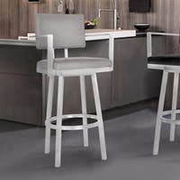 Armen Living Balboa Barstool with Arms in Brushed Stainless Steel and Vintage Gray Faux Leather