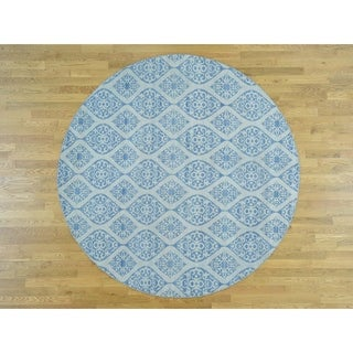 Hand Knotted Blue Flat Weave with Wool Oriental Rug - 9'9 x 9'9