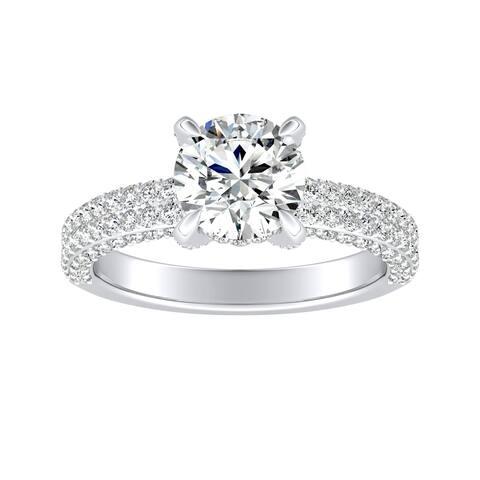 Auriya 14k Gold 1 1/2ct Moissanite and Pave Diamond Engagement Ring 7/8ctw