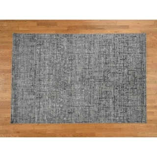 Hand Knotted Grey Modern & Contemporary with Wool & Silk Oriental Rug - 6'2 x 9'3