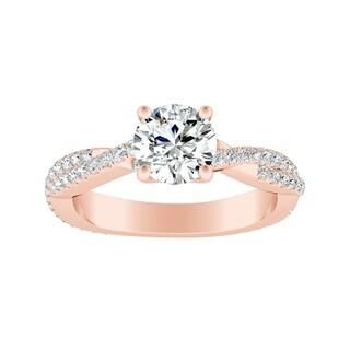 Auriya 14k Gold 2 1/2ct Round Moissanite and 1/2ct TDW Diamond Twisted Shank Engagement Ring