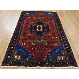 Hand Knotted Red Persian with Wool Oriental Rug - 4'5 x 7'