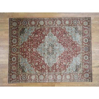 Hand Knotted Red Heriz with Wool Oriental Rug - 7'9 x 9'10