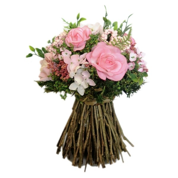 Light Pink Mix Rose Twig Bouquet -Small