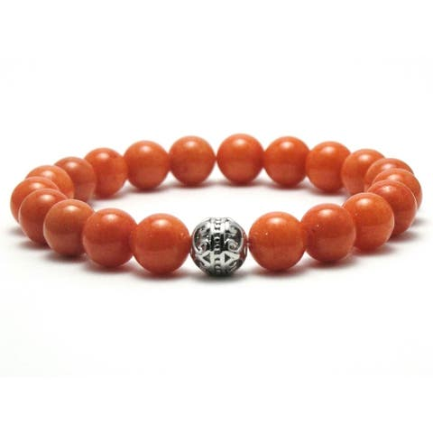 AALILLY Mens 10mm Orange Natural Beads Stretch Bracelet