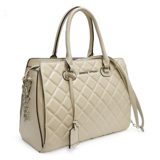 Adrienne Vittadini Cushion Quilted Chain Strap Satchel Handbag-Ivory