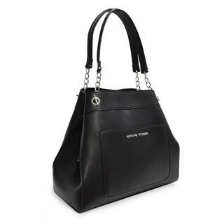 Adrienne Vittadini Pebble Grain Chain Strap Handbag-Black