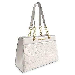 Adrienne Vittadini Signature Embossed Satchel Handbag-Ivory