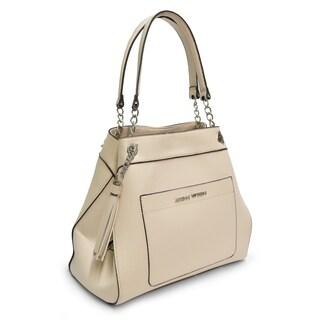 Adrienne Vittadini Pebble Grain Chain Strap Handbag-Ivory
