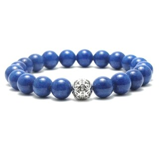 AALILLY Mens 10mm King Blue Natural Beads Stretch Bracelet