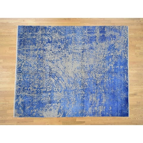 Hand Knotted Blue Modern & Contemporary with Wool & Silk Oriental Rug - 8'1 x 9'10