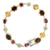 Michael Valitutti Palladium Silver Multi Garnet Tennis Bracelet