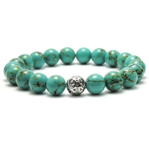 AALILLY Mens 10mm Turquoise and Black Texture Natural Beads Stretch Bracelet