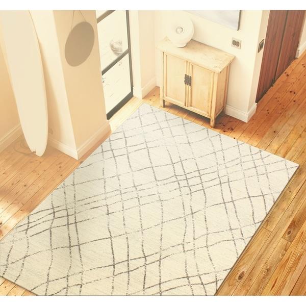 "Almira Ivory/Grey Contemporary Area Rug - 5' x 7'6"""